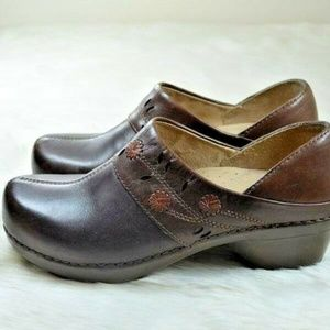Dansko Summer Brown Leather Floral Clogs